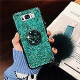 Karomenic Custodia in silicone compatibile con Samsung Galaxy Note 8 Bling Glitter Glitter Glitter Cover Morbida TPU Custodia con diamante Ring Stand Haarball Custodia Bumper Case, verde