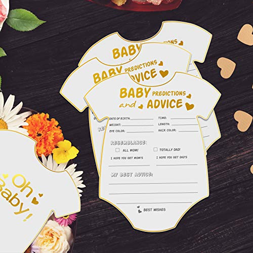yuzi-n 50 Advice and Prediction Cards for Baby Shower Game,Gender Neutral Boy or Girl,Fun Baby Shower Games Favors,New Parent Message Advice Book,New Mom & Dad Card or Mommy & Daddy to Be - 5x6inch