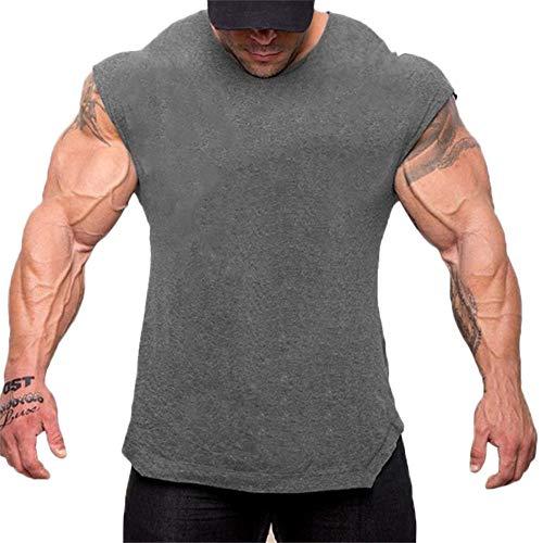Fenverk Herren Fitness Shape Shirt Figur Formend Training Achselshirts Weste Sauna Schwitzeffekt Tank Top Stark Gym Bodyshape Mit Breit TräGer(Grau,M)