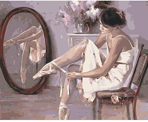 JASIOHCDS DIY Ölfarbe von Number Kit Ballerina Tragen von Schuhen Malen Paintworks 16 x 20 Zoll Weihnachtsdekor Dekorationen Geschenke (ohne Rahmen) Handgemalte Ölgemälde