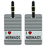 Graphics & More I Love Heart Mermaids Luggage Tags Suitcase Carry-on Id, White