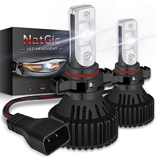 NATGIC PSX24W Lampadina LED per Faro Kit di Conversione Lampadine a LED Super Luminose 16000LM 16 chip XHP50 Xenon Bianco 6500K Impermeabile, DC 9-32V, 2 anni di Garanzia (Confezione da 2)