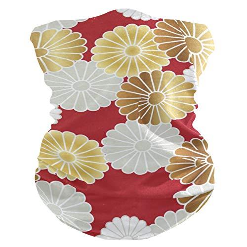 Bolimao Gesichtsmaske, japanischer traditioneller Stil, Chrysanthemenmuster, atmungsaktiv, multifunktional, waschbar, Halstuch, Schal für Sonne, UV- und Staub, Wind