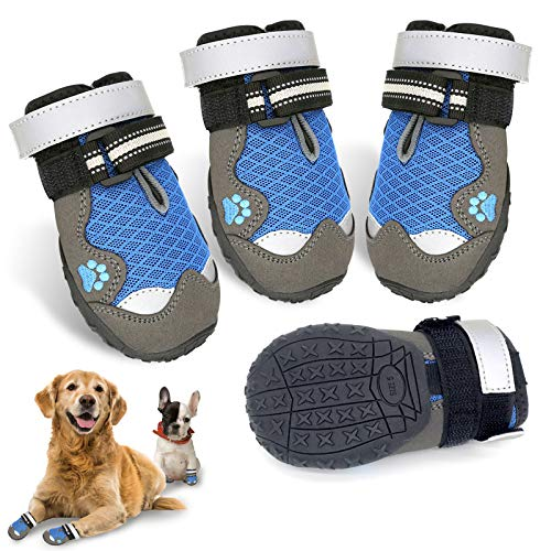 """HOOLAVA Dog Boots, Waterproof Dog Shoes with Adjustable and Reflective, Anti-Slip Sole Breathable Booties 4PCS for Medium and Large Dogs, Size 4: 2.3""""(W)"""