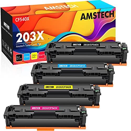 Amstech Kompatible Tonerkartusche als Ersatz für HP 203X 203A CF540X CF540A Color Laserjet Pro MFP M281fdw M254dw M281fdn M281cdw M280nw M254nw M254dn M281 (Schwarz Cyan Gelb Magenta, 4er-Pack)