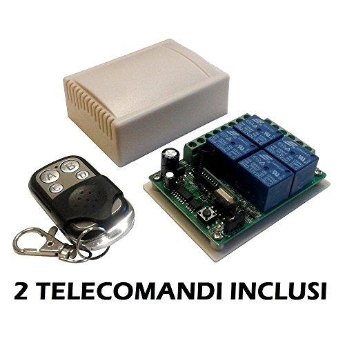 Relaismodule ontvanger 4 kanalen Ch 12 V 10 A + 2 afstandsbedieningen 433 MHz draadloze afstandsbediening poorten rolluiken huisverlichting schakelaar Relay 12 V DC
