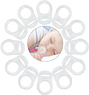 VOARGE 12 sztuk silikonowych pierścieni do łańcuszka na smoczek dla niemowląt, silikonowy pierścień do smoczka, przezroczy...