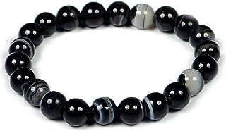 Pooja Gems 8mm Black Sulemani Hakik for Men and Women Natural Agate Stone Bracelet