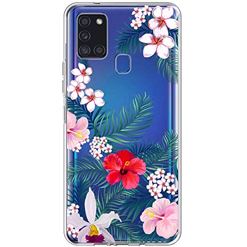Funda para Samsung A21s Carcasa transparente suave silicona TPU Gel Clear Case Galaxy A21s Flor Jungla Mare Pattern Cubierta Ultra Fina Flexible Antigolpes Protectora Shell 6 S