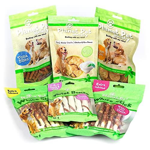 6 Packs de Snacks, Chuches y Premios para Perros Medianos y Grandes - Golosinas y Aperitivos para Premiar y Educar - 500 g