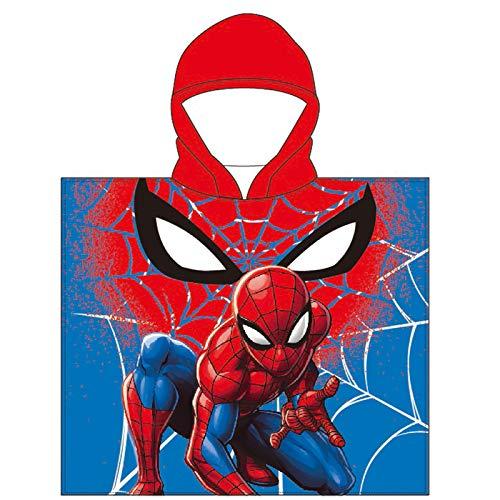 Toalla de Poncho para Playa y Piscina Infantil de Licencia Oficial (Spider Man B)