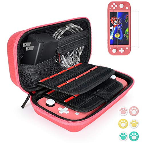 Hestia Goods Carrying Case for Nintendo Switch Lite with 2 Pack Screen Protector & 6 Pcs Thumb Grip, 20 Game Cartridges Hard Shell Travel Carrying Switch Lite Pouch Case Console & Accessories, Coral