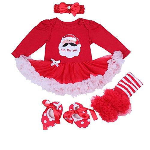 BabyPreg Bebe niña Mi Primera Navidad Vestido de Fiesta de Disfraces de Santa 4PCS (12-18 Monate, Papá Noel Largo)