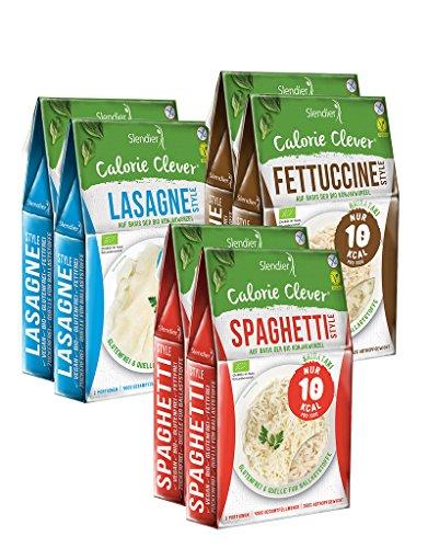 Shirataki Konjak Italia Probierpaket: 2 x Spaghetti-Style 250g, 2 x Fettuccine-Style 250g, 2 x Lasagne-Style 250g - Bio