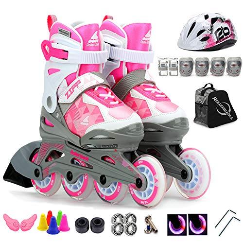 QMMD Inline skates in verstelbare grootte, lichte, comfortabele rolschaats voor jongeren, professionele veiligheidshelm, beschermende uitrusting, B, S (10,5 – 12,5 UK/28–31 EU)