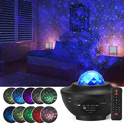 LED Sternenhimmel Projektor Nachtlicht, Airabc Bluetooth Musik Stimmungslicht mit Fernbedienung, 10 Lichtmodi, 3 Helligkeitsstufen, Timer Funktion, Projektorlampe für Kinder, Schlafzimmer, Party