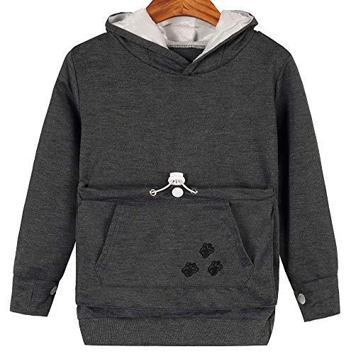 Girls Cat Dog Pouch Hoodies Kitten Puppy Carrier Holder Shirts Sweatshirt Tops 14T Dark Grey