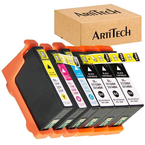 V525W Ink Cartridges Compatible for Dell Series 31 32 33 34 Ink Cartridges Work for Dell V525W, V725W Printers All-in-One Wireless Inkjet Printer 6 Pack (3 Black, 1 Cyan, 1 Magenta, 1 Yellow)