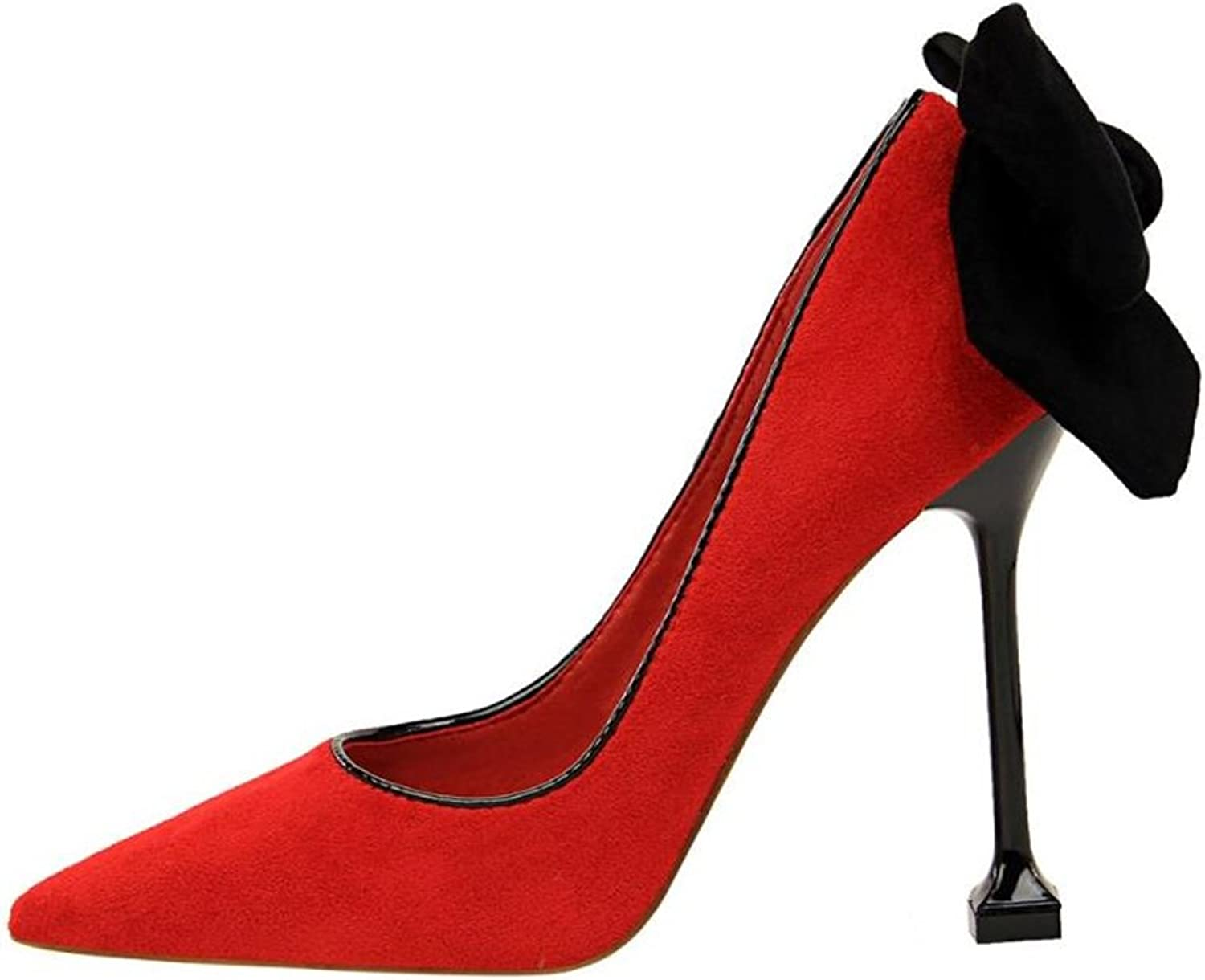 Cloudless Women's Pointy Toe High Heel Stiletto Pumps with Big Bowknot