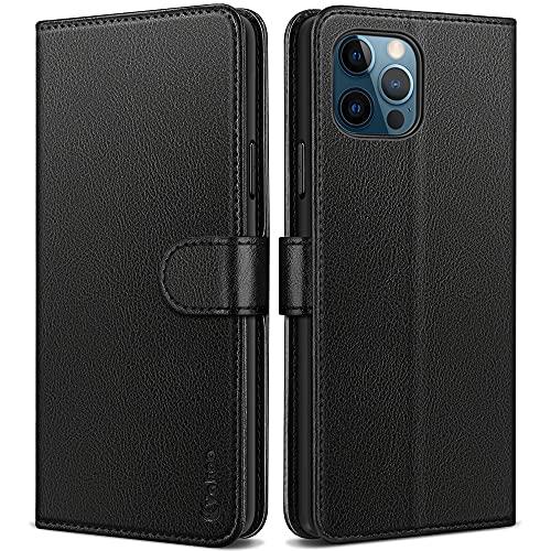Vakoo Handyhülle für iPhone 12 Hülle iPhone 12 Pro Klapphülle, Leder Tasche Flip Hülle für iPhone 12/12 Pro Schutzhülle, mit RFID Schutz, Schwarz