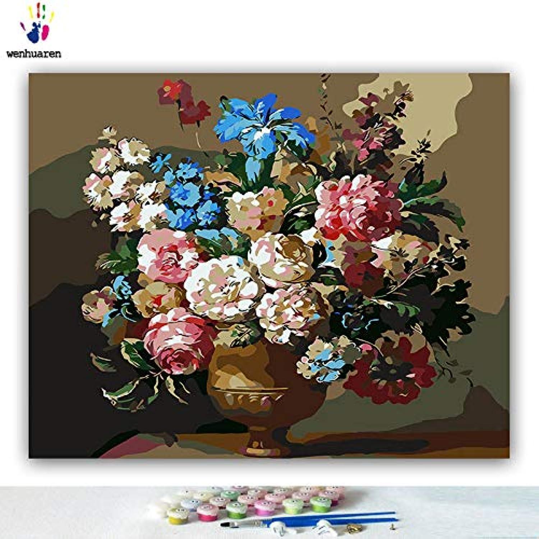 KYKDY DIY Färbungen Bilder nach Zahlen mit Farben Vintage Ölgemälde Blaumenbild Zeichnung Malen nach Zahlen gerahmt nach Hause, 86038,60x75 kein Rahmen B07MYVS7HV   Won hoch geschätzt und weithin vertraut im in- und Ausland vertraut