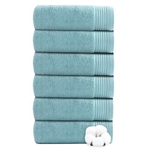 Juego de 6 toallas de mano para baño 100% algodón puro, juego de toallas absorbentes, ultra suaves, gruesas y lujosas, juego de toallas de mano para el cuerpo, color turquesa (40 x 70 cm)