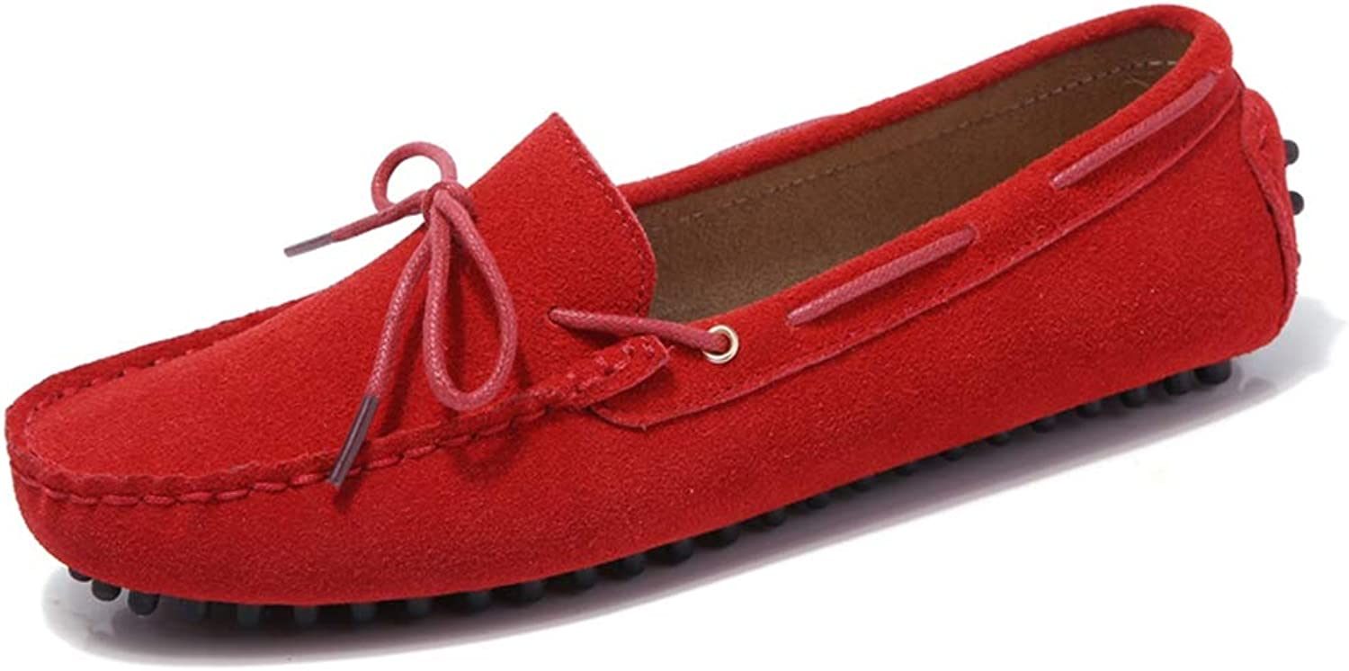 T-JULY Women Loafers Flat shoes Suede Leather Moccasins Ladies Soft Studded Round Toe Slip on shoes with Bowknot