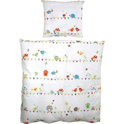 2 teiliges Wiegenset Waldhochzeit Kopfkissen- und Bettdeckenbezug - Baby Bett Wäsche Decke Kissen Kinder Stuben Wagen Wiege Set