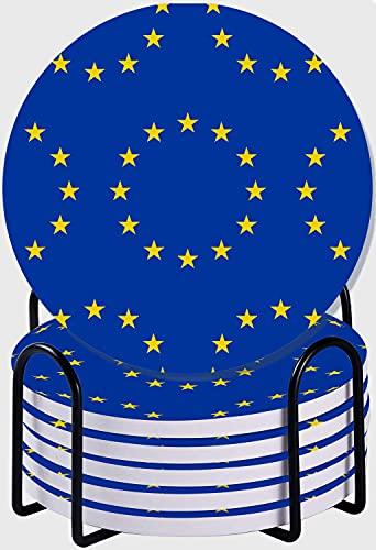 CIKYOWAY Posavasos para Bebidas,Patrón de Bandera de la Unión Europea Abstracto sin Fisuras Juego de 6 Posavasos absorbentes con Soporte de Metal/Fondo de Corcho,para Casa Restaurante Y Bar