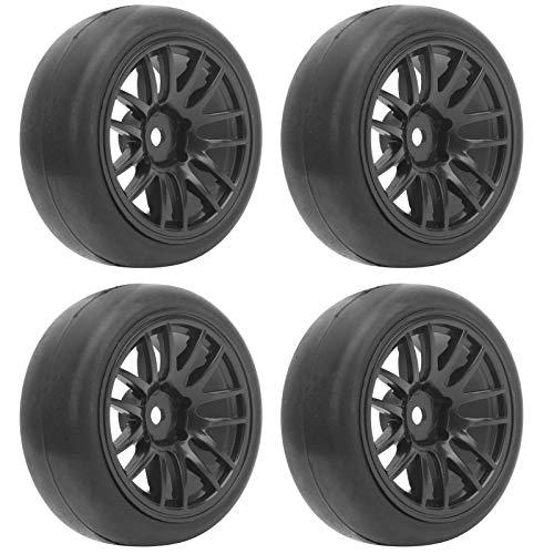 SUCIE Neumático Liso RC, Modelo de neumático Liso Resistente al Desgaste 4 Piezas Negro para Camiones WPL D12 1/10 RC