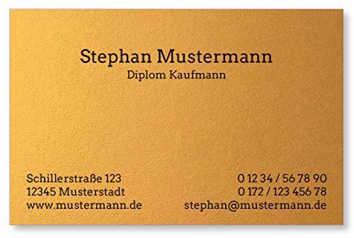 50 Visitenkarten, Feinpapier mit metallisch glänzender Oberfläche, Asia-Gold