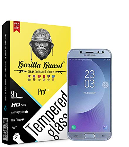 Gorilla Guard 8H Hardness, 2.5D Rounded Edges, Neo Coated HD+ Clear Tempered Glass Screen Protector with Installation Kit for Samsung J7+ Galaxy J7+ Plus 5.5inch, Pro series (Transparent)