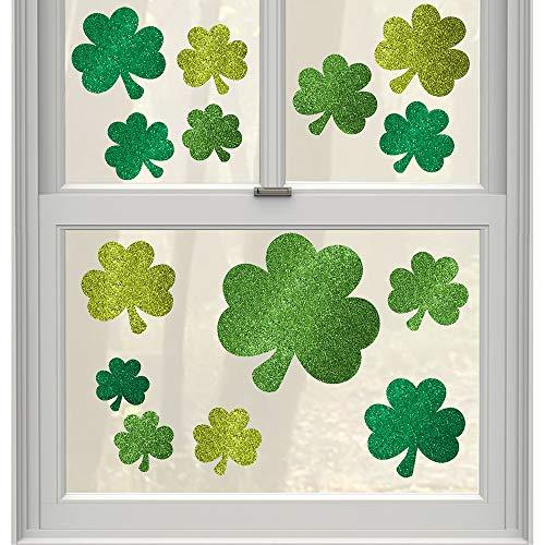 amscan raamdecoratie Glitter Shamrocks(24 stuk) -45,7 cm x 30,5 cm-1 Pack