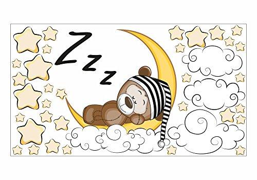 nikima - 087 Wandtattoo Teddy auf Mond Sterne Wolken - in 6 Größen - niedliche Kinderzimmer Sticker und Aufkleber süße Wanddeko Wandbild Junge Mädchen (1000 x 560 mm)
