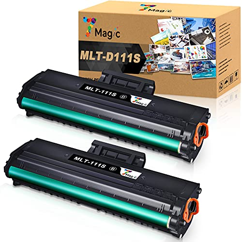 7Magic Compatible Toner Cartridge Replacement for Samsung MLT-D111S 111S MLT111S MLTD111S for Samsung M2020 M2020w M2070fw M2070 M2070w M2022w M2024w M2071W Printer (Black, 2-Pack)