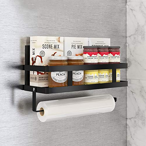 Aikzik Gewürzregale, Kühlschrank Regal Hängeregal für Kühlschrank Magnet Gewürzregal mit Ablage Küchenregal Küchen Organizer Aufbewahrung, Schwarz