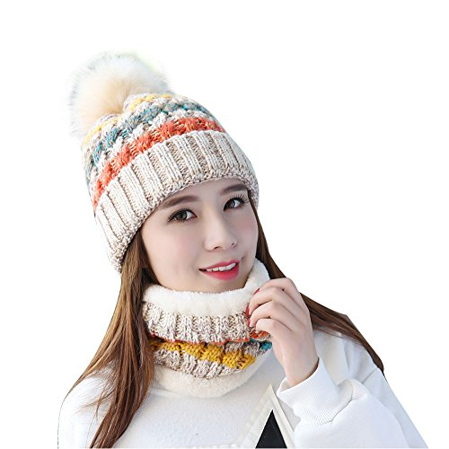 TININNA Sombrero y Bufanda Mujer Invierno, Caliente Gorras con Scarf de Forro de Lana de Punto de Esquiar para Chicas 2 Piezas-Beige