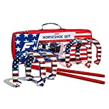 Franklin Sports Horseshoes Sets - Includes 4 Horseshoes and 2 Stakes - Official Weight Horseshoes and Stakes - All Weather Durable Sets - American