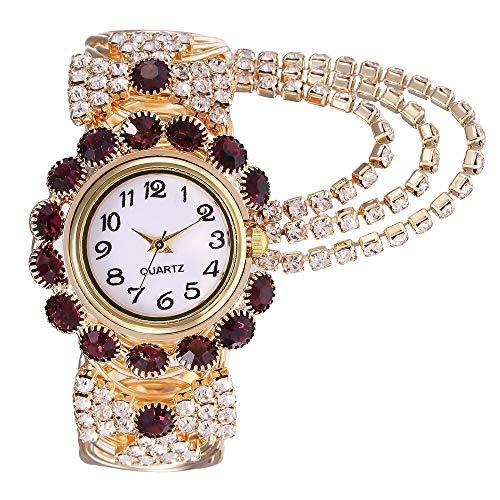 JZDH Relojes para Mujer Mira Women Alloy Fashion Watches Creative Fringe Quartz Pulsera Wristwatch Relojes Decorativos Casuales para Niñas Damas (Color : Brown)
