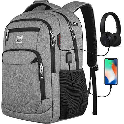 Travel Laptop Backpack with USB Charging&Headphone Port,Anti-Theft Business Laptop Backpack with Breathable Padded Shoulder Strap, Water Resistant Computer Rucksack for School/Work/Travel