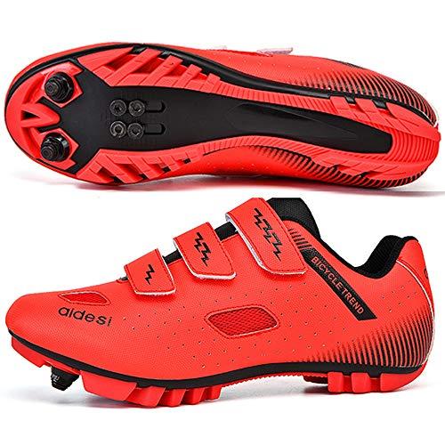 KUXUAN Zapatillas De Ciclismo MTB para Hombre,Zapatillas De Ciclismo De Montaña con Candados Zapatillas Deportivas De Invierno para Hombres Y Mujeres/Suelas De Nailon,Red-41EU=(255mm)