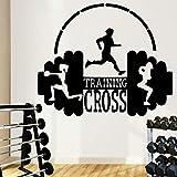 HNXDP Lustiges Training Cross Sport Wandkunst Aufkleber Aufkleber PVC Material Dekoration Aufkleber Wandbild 57cmx68cm