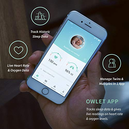 Owlet Smart Green Sock Baby Monitor - Track Heart Rate & Oxygen Levels - With Smart Notifications - See Hours Slept and Historical Trends - The Ultimate Baby Monitor for Peace of Mind