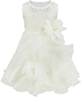TiaoBug Neonata Bimba Bambina Abito da Battesimo Vestito da Principessa Abito da Sposa Sera Cerimonia Matrimonio Nuziale P...