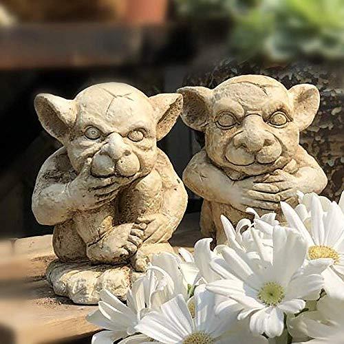 LIUSHI Juego de 2 Duendes defienden el jardín Adornos Figuras Figuras de Hadas de Elfo Estatuas