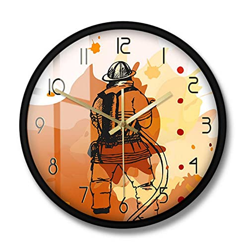 LWXJK Bombero Reloj de Pared Impreso Reloj de Pared silencioso Signo del Departamento de Bomberos Hombre Cueva Decoración de Pared Idea de Regalo para Bomberos Primeros respondedores-30x30CM