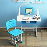 KKTECT Escritorio para niños Juego de sillas de Escritorio de Estudio para niños de Altura Ajustable Escritorios de Estudio de Escritura para Estudiantes multifuncionales con luz LEDl(Azul)