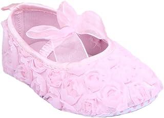 [つきハス] Yuelian(TM) ベビーシューズ 可愛い レースリボン付 ファーストシューズ 軽量タイプ フラワー お姫様 子供靴 ピンク