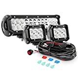Nilight ZH016 12 Inch 72W Spot Combo Bar 2PCS 4 Inch 18W Flood LED Fog Lights with Off Road Wiring Harness- 2 Leads, 2 Years Warranty