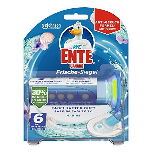 WC-Ente Frische-Siegel Starter-Set (inkl. 1 Nachfüller), körbchenloser WC-Reiniger, Marine Duft, 36 ml